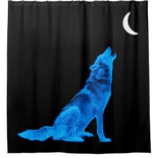 Lobo del grito cortina de baño