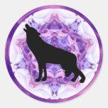 Lobo del grito del caleidoscopio etiqueta
