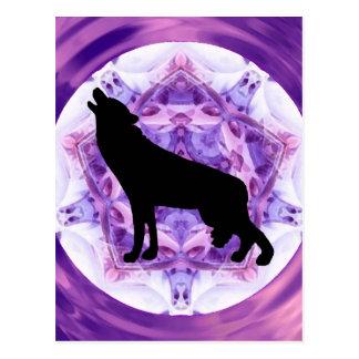 Lobo del grito del caleidoscopio postal
