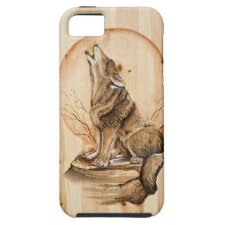 Lobo del grito en el caso de madera del iPhone 5 C iPhone 5 Fundas