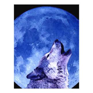 Lobo del grito en la luna tarjetón