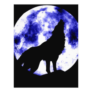 Lobo del grito en la luna tarjetas informativas