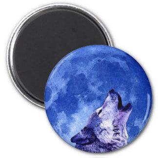Lobo del grito en la luna imán redondo 5 cm