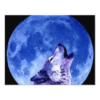 """Lobo del grito en la luna invitación 4.25"""" x 5.5"""""""