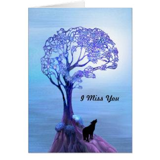 Lobo del grito en tarjeta azul