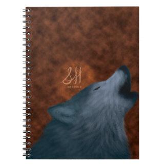 Lobo del grito libro de apuntes con espiral