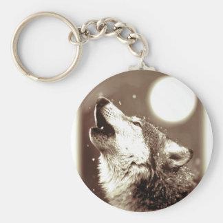 Lobo del grito llavero redondo tipo pin