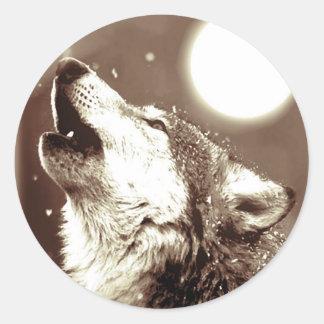 Lobo del grito pegatina redonda