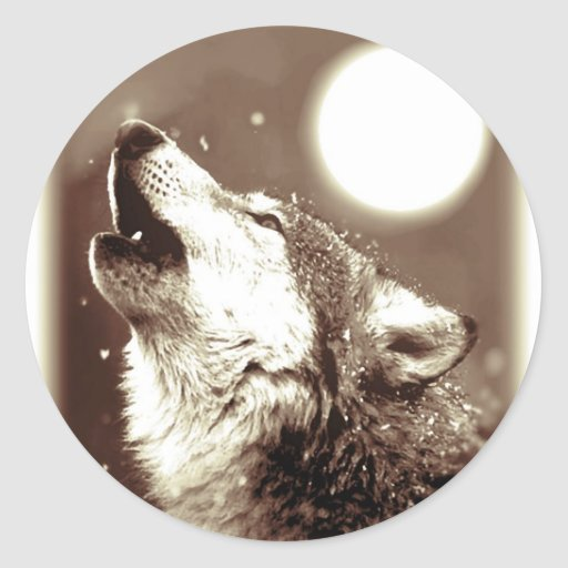 Lobo del grito pegatinas redondas
