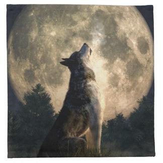 Lobo del grito servilleta imprimida