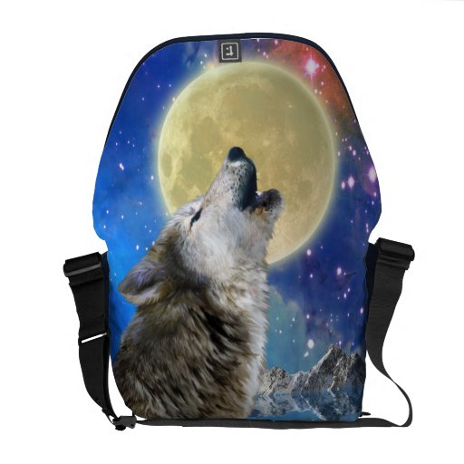 Lobo del grito y la bolsa de mensajero de la fauna bolsas de mensajeria