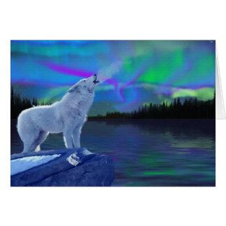 Lobo del grito y tarjeta de nota árticos de la aur