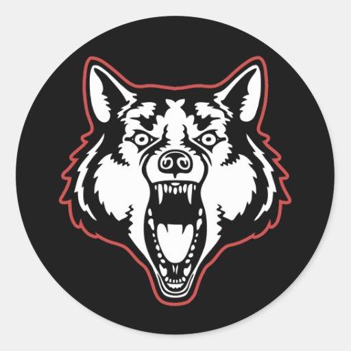 Lobo del gruñido etiqueta redonda