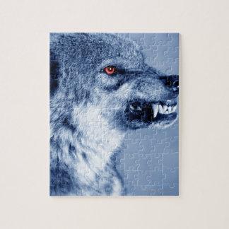 Lobo del gruñido (lupus de Canis), perfil (Digital Rompecabeza Con Fotos
