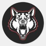 Lobo del gruñido pegatina redonda