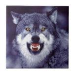 Lobo del gruñido tejas  cerámicas