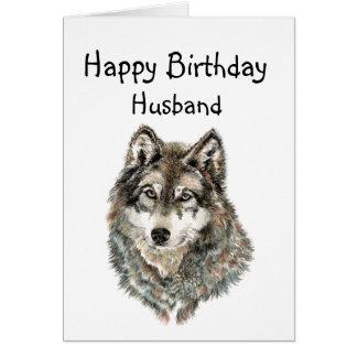 Lobo del humor del marido del feliz cumpleaños, tarjeta de felicitación