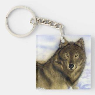Lobo del invierno llavero cuadrado acrílico a doble cara