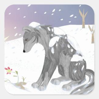 Lobo del invierno pegatina cuadrada