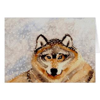 Lobo del invierno tarjeta de felicitación
