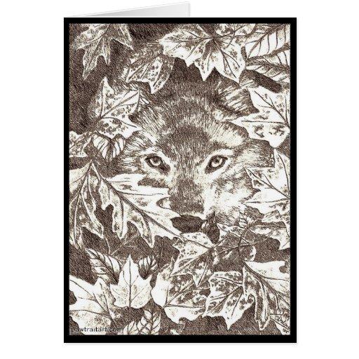 Lobo del otoño tarjetón