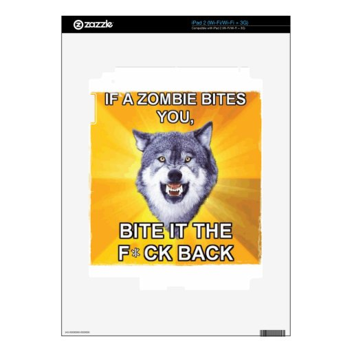 Lobo del valor contra zombis calcomanías para iPad 2