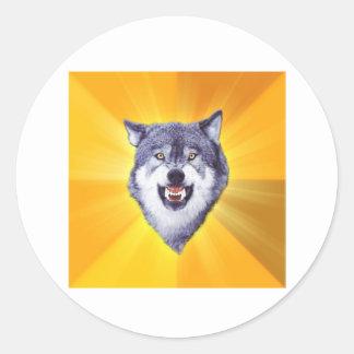 Lobo del valor pegatina redonda