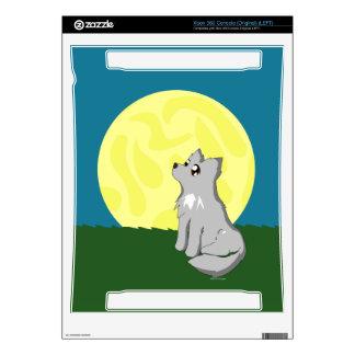 Lobo desaliñado lindo con la luna consola xbox 360 skin