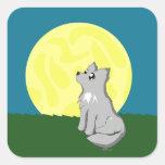 Lobo desaliñado lindo con la luna pegatinas