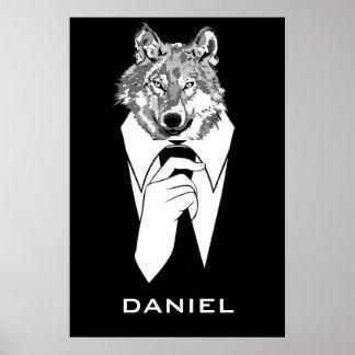 Lobo divertido del inconformista con el smoking póster