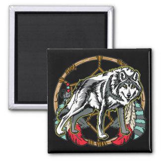 Lobo Dreamcatcher Imán Cuadrado
