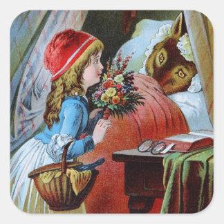 Lobo en cama de la abuela calcomanía cuadradas personalizadas