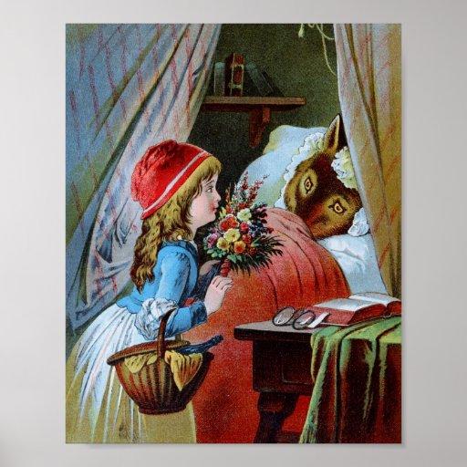Lobo en cama de la abuela póster