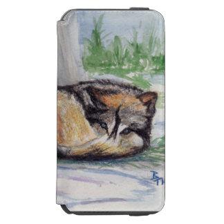 Lobo en descanso funda billetera para iPhone 6 watson