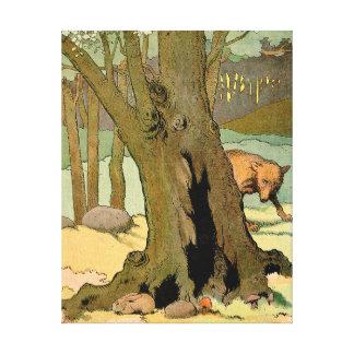 Lobo en el bosque oscuro impresión en tela