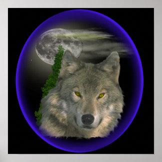 lobo en la noche póster
