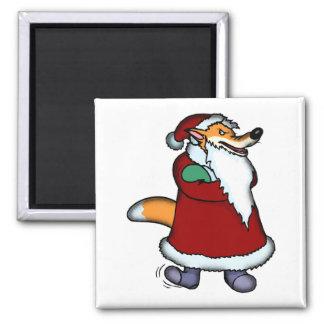 Lobo en la ropa de Papá Noel Imán Cuadrado