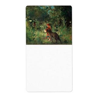 Lobo en la trayectoria con rojo etiquetas de envío