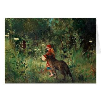 Lobo en la trayectoria con rojo tarjeta de felicitación