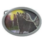 lobo en las maderas hebillas de cinturon ovales
