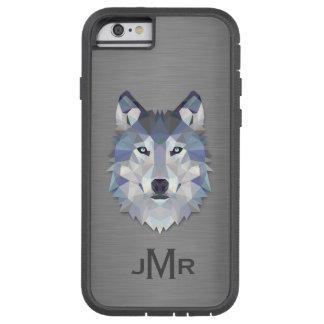 Lobo en monograma de acero cepillado del efecto funda de iPhone 6 tough xtreme