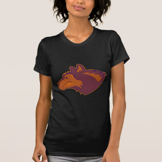 Lobo en naranja retro camisetas