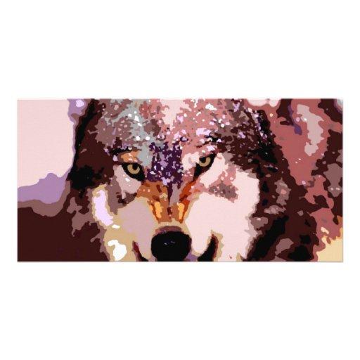 Lobo en nieve tarjeta con foto personalizada