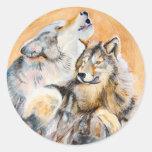 Lobo en peligro que aúlla en los pegatinas de la l