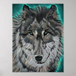 Lobo en poster del hielo del trullo