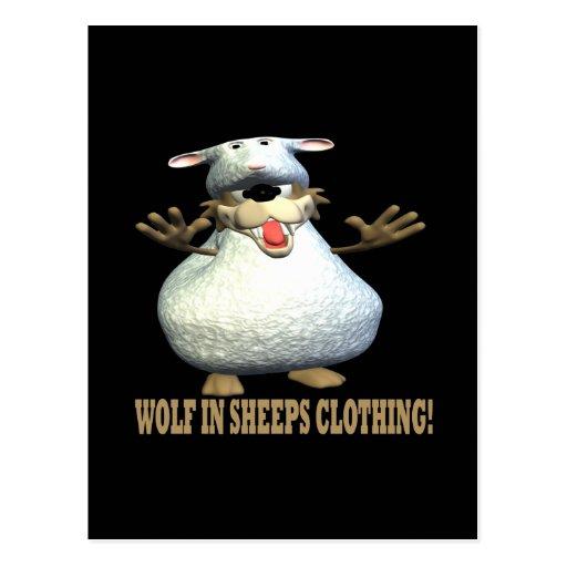 Lobo en ropa de las ovejas postal