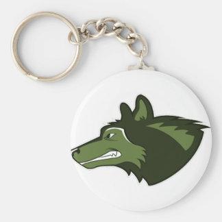 Lobo en verde enorme llavero redondo tipo pin