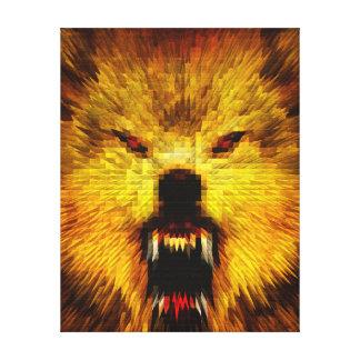 Lobo enojado lienzo envuelto para galerías
