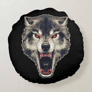 Lobo feroz cojín redondo