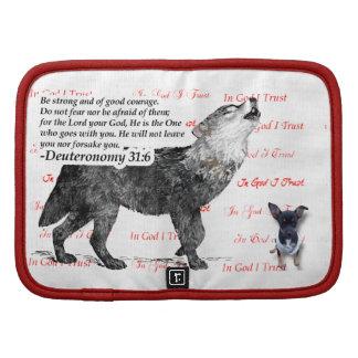 Lobo feroz con escritura de la biblia del perrito